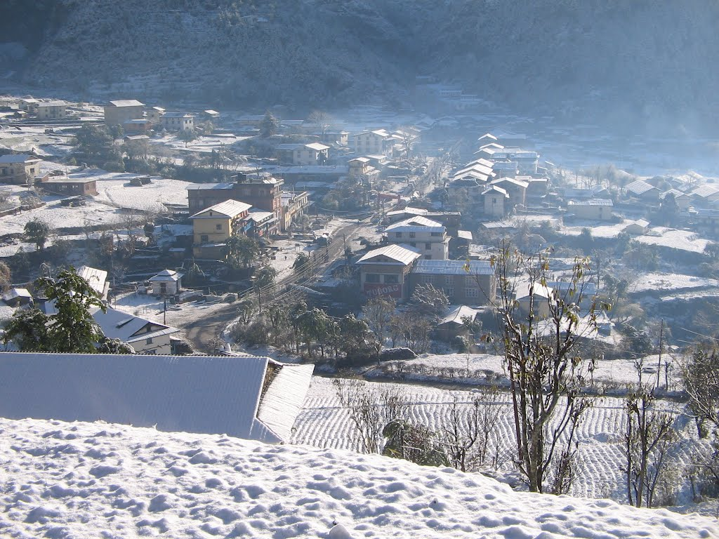 A view of Jiri, Nepal with snowfall in winter