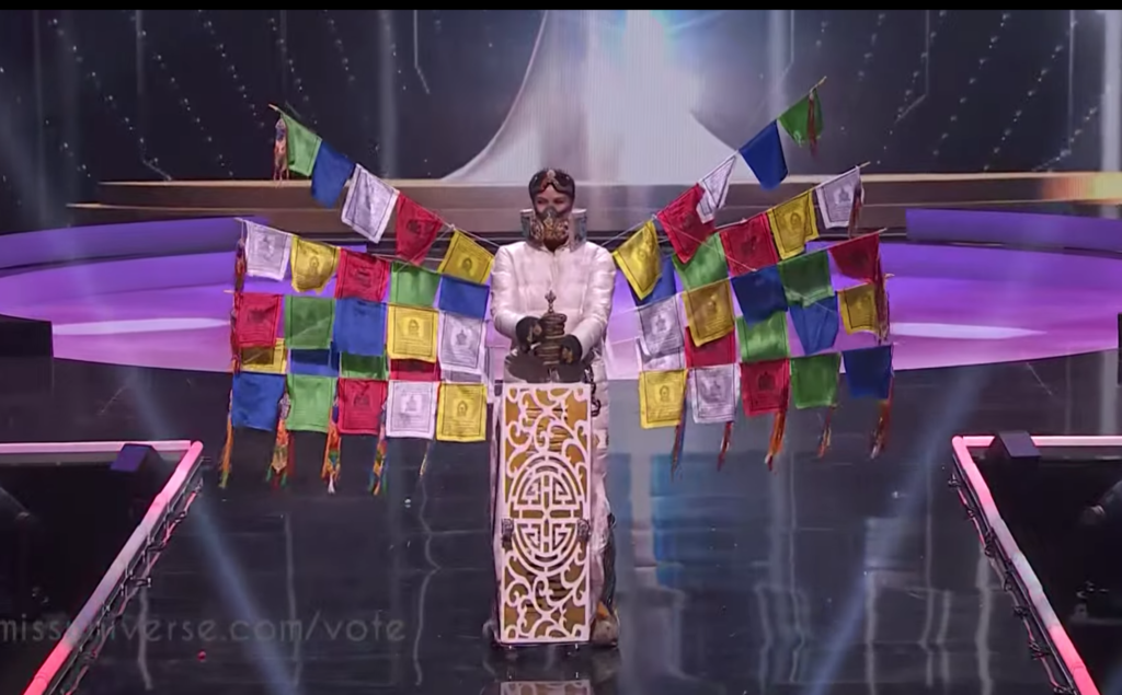 Miss Universe Nepal Anshika Sharma representing Nepal with her outfit in the Miss Universe national costume show